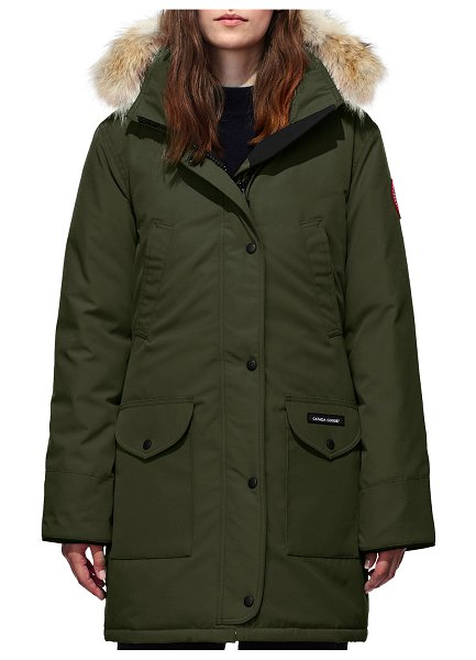 Canada Goose Trillium Down Parka Coat w/ Natural Coyote Fur Trim in military green