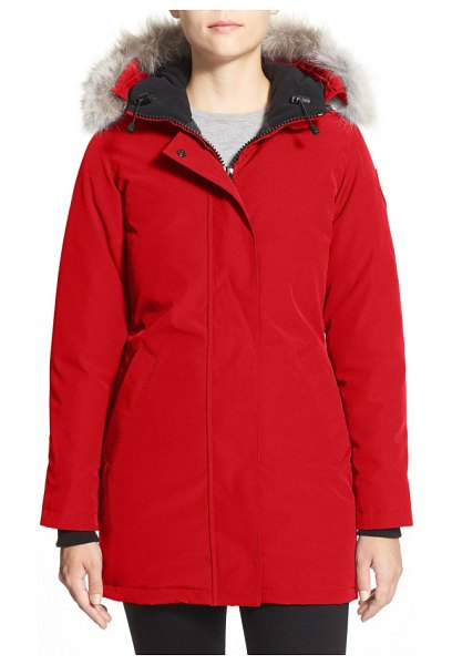 Canada Goose victoria down parka with genuine coyote fur trim in red