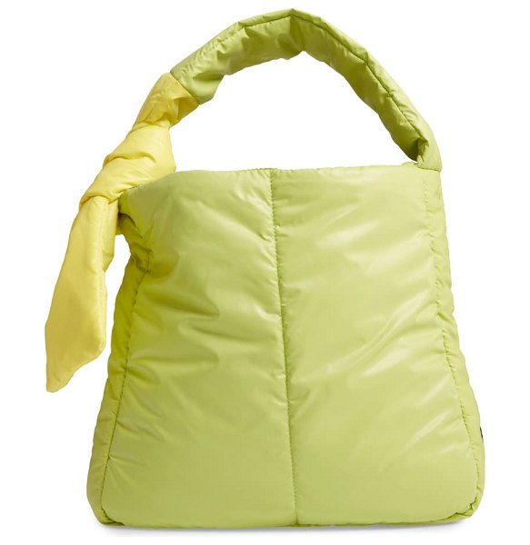 CARAA fractus water resistant nylon tote in lime