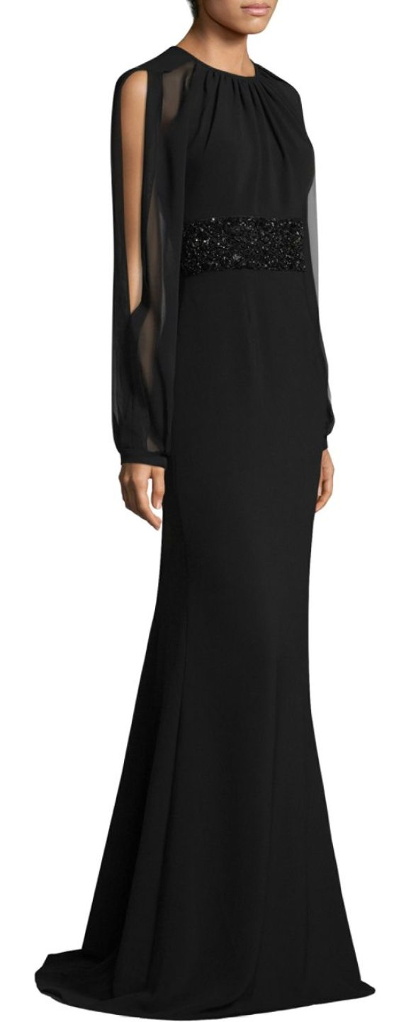 Carmen Marc Valvo Open-Sleeve Gown in Black | Shopstasy
