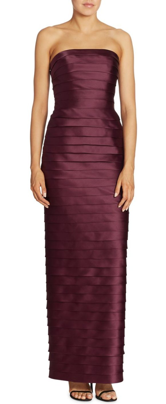 Carmen Marc Valvo Strapless Tiered Gown in Red | Shopstasy