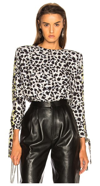 Carmen March leopard top in grey & white