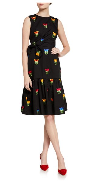 Carolina Herrera Bowed & Gathered Dress in black pattern