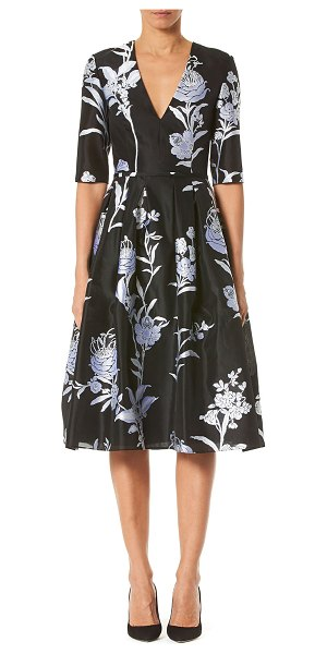 Carolina Herrera Floral Jacquard Taffeta V-Neck Dress in black