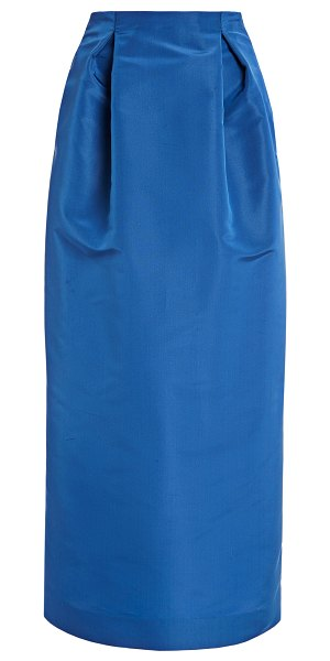 Carolina Herrera high-rise silk-faille pencil skirt in blue
