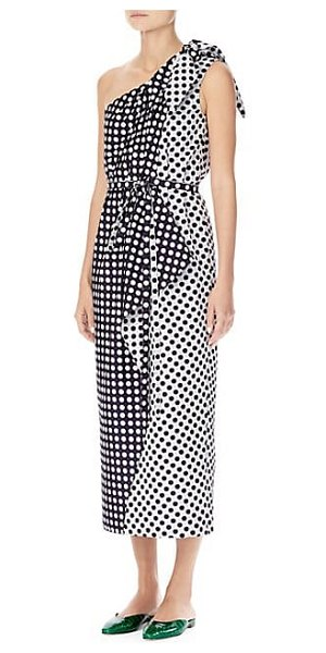 Carolina Herrera one-shoulder polka dot dress in midnight multi