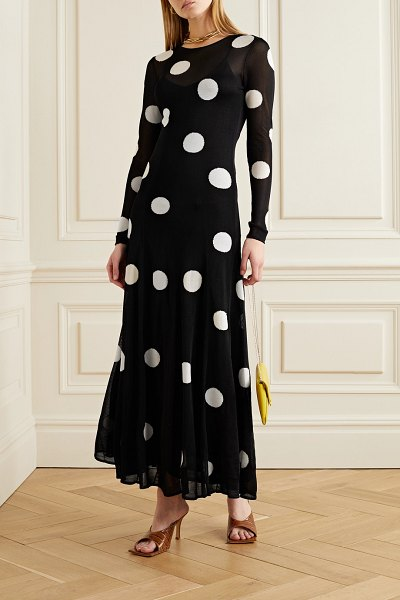 Carolina Herrera polka-dot jacquard-knit maxi dress in black