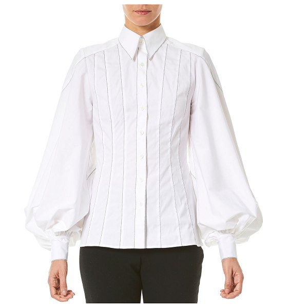 Carolina Herrera Puff-Sleeve Button-Front Shirt in white