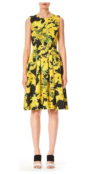CAROLINA HERRERA Sleeveless Floral-Print Fit-and-Flare Cotton-Blend Day Dress - Carolina Herrera day dress with floral-print. Crew...