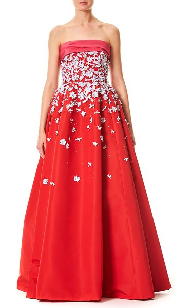 Carolina Herrera Strapless Silk Faille Evening Ball Gown With Floral
