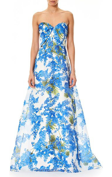 CAROLINA HERRERA Sweetheart-Neck Floral-Print Evening Gown - Carolina Herrera evening gown with mimosa floral-print....