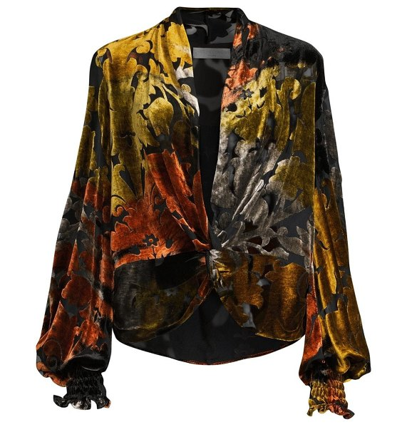 Caroline Constas bette velvet burnout blouse in gold
