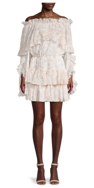 Caroline Constas Ruffled Off-The-Shoulder Mini Dress in beige white