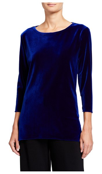 Caroline Rose 3/4-Sleeve Stretch Velvet Party Top in sapphire