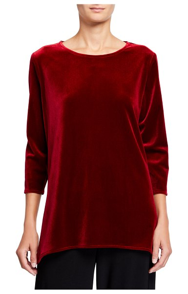 Caroline Rose 3/4-Sleeve Stretch Velvet Party Top in red