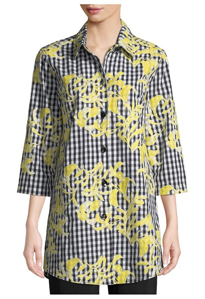 Caroline Rose Hello Yellow Embroidered Button-Front Gingham Tunic in yellowblackwhite