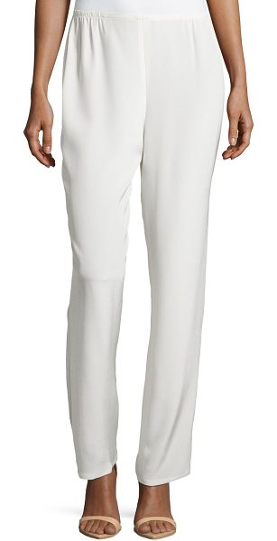 Caroline Rose Silk Crepe Straight-Leg Pants in white