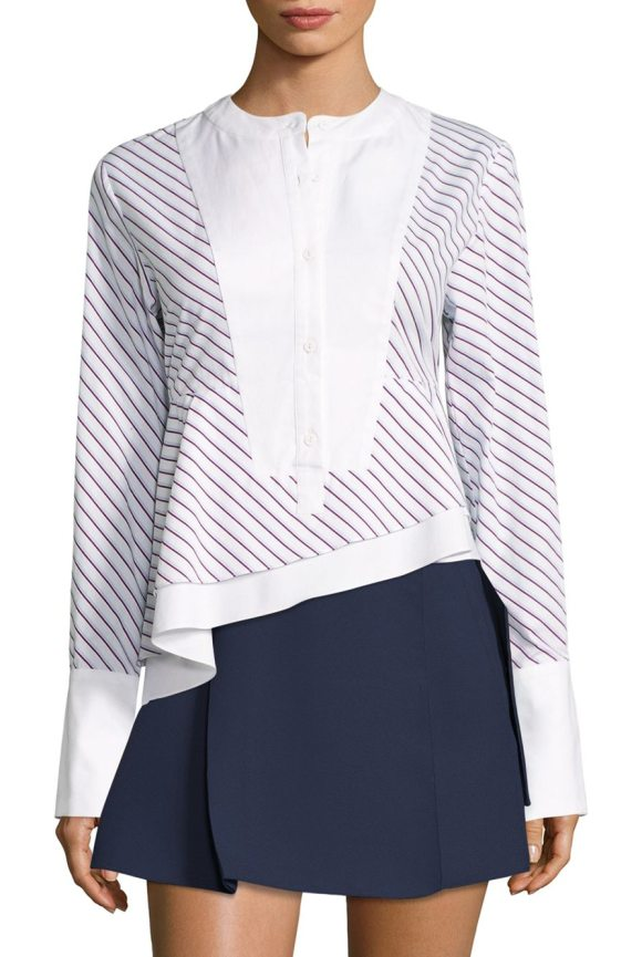 CARVEN asymmetrical striped poplin cotton top - Diagonal striped cotton top with contrast trim details....