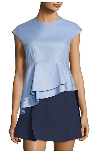 Carven babydoll asymmetrical cotton top in blue sky - Asymmetrical layered top finished in solid tone....