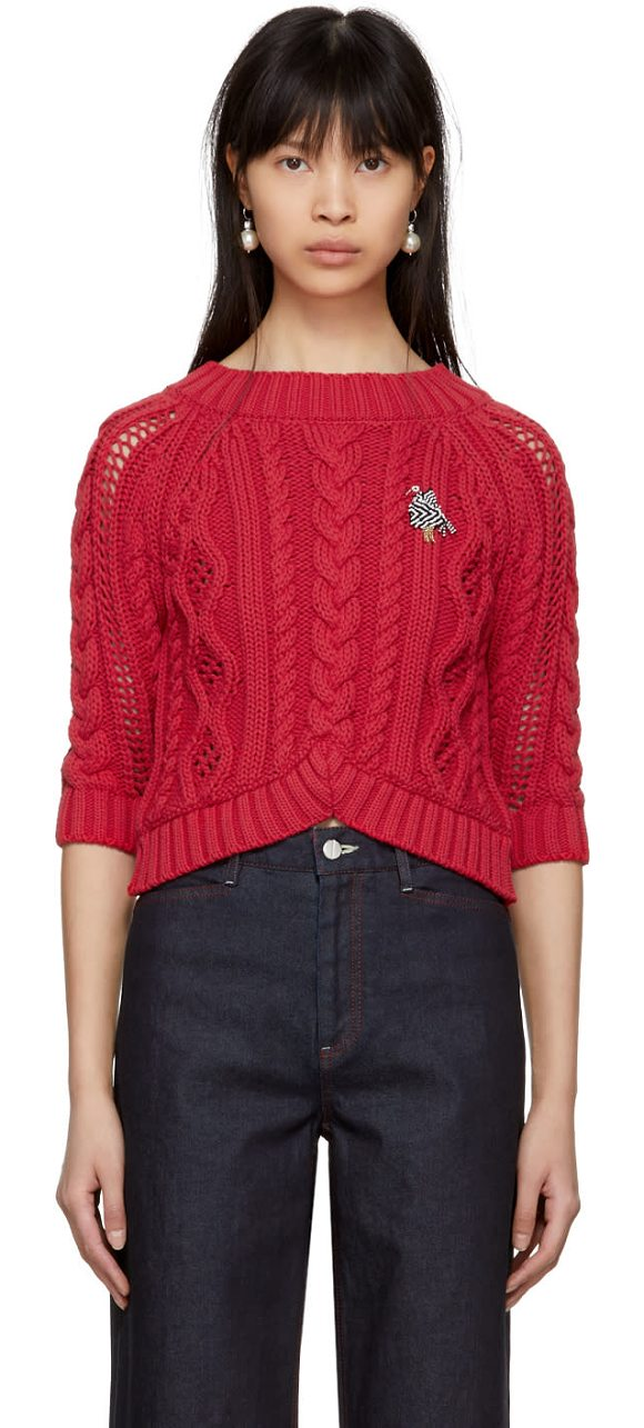 Carven de Sweater punto In Espelet punto de tres Red Cable Crop cuartos rRwWFqrZz