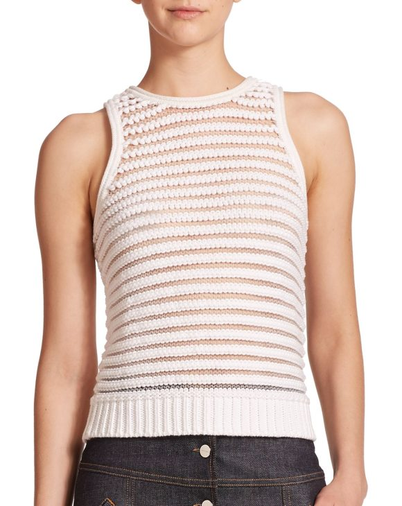 Carven Sleeveless Striped Knit Top in white - Cute fitted knit tank with sheer stripes. Jewelneck....