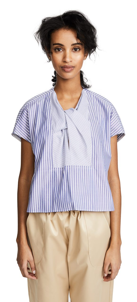 Carven striped top in blanc/bleu nuit - Fabric: Poplin Stripe pattern Pullover style...