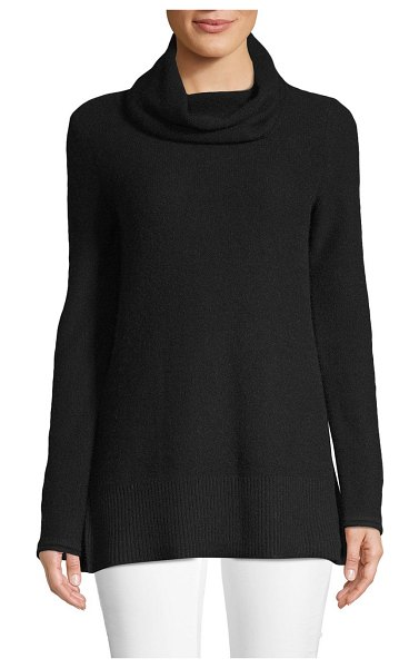 Cashmere Saks Fifth Avenue Cowlneck Cashmere Sweater in ebony - Comfortable sweater tailored from pure cashmere fabric....