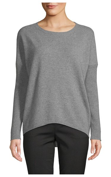 Cashmere Saks Fifth Avenue Drop-Shoulder Cashmere Sweater in sleet heather - EXCLUSIVELY OURS. Easy-fit cashmere sweater elevated by...
