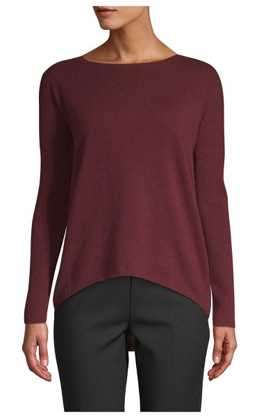 Cashmere Saks Fifth Avenue Drop-Shoulder Cashmere Sweater in dark pinot - EXCLUSIVELY OURS. Easy-fit cashmere sweater elevated by...