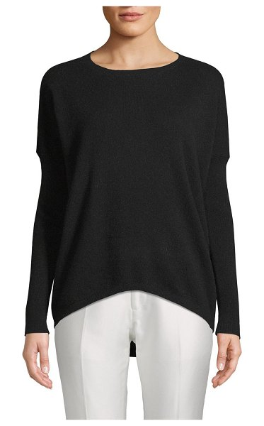 Cashmere Saks Fifth Avenue Drop-Shoulder Cashmere Sweater in ebony - EXCLUSIVELY OURS. Easy-fit cashmere sweater elevated by...