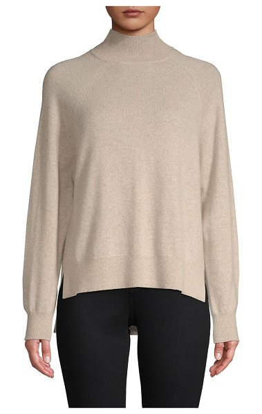 Cashmere Saks Fifth Avenue High-Low Cashmere Sweater in ebony - Stylish sweater tailored from cashmere fabric....