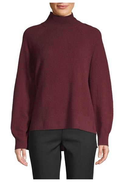 Cashmere Saks Fifth Avenue High-Low Cashmere Sweater in dark pinot - Stylish sweater tailored from cashmere fabric....