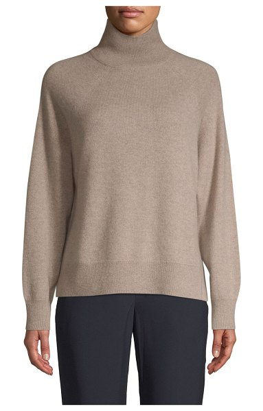 Cashmere Saks Fifth Avenue High-Low Cashmere Sweater in latte heat