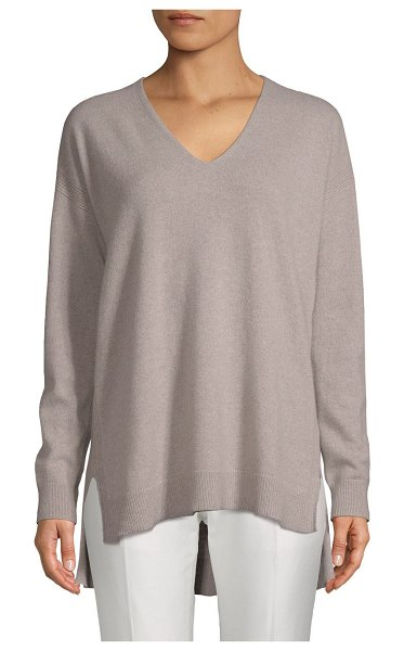 Cashmere Saks Fifth Avenue High-Low Cashmere Sweater in driftwood - EXCLUSIVELY OURS. Relaxed cashmere sweater with rib-knit...