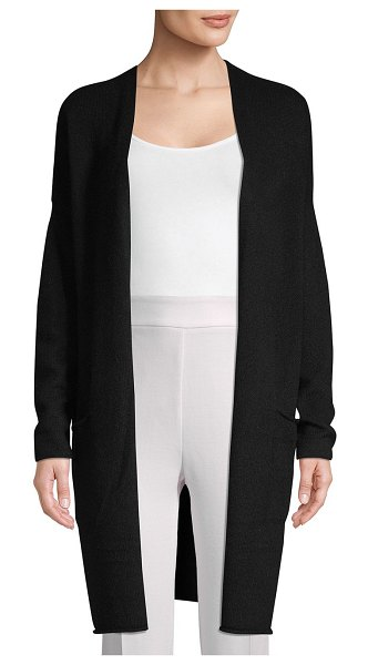 Cashmere Saks Fifth Avenue Open-Front Cashmere Cardigan in ebony - Comfortable cashmere cardigan with textured design. Open...