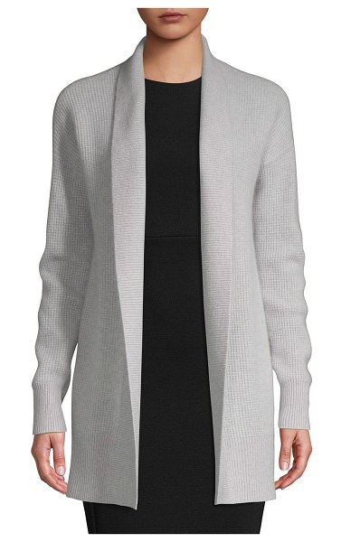 Cashmere Saks Fifth Avenue Open-Front Cashmere Cardigan in grey mist - Comfortable cashmere sweater with waffle stitching....