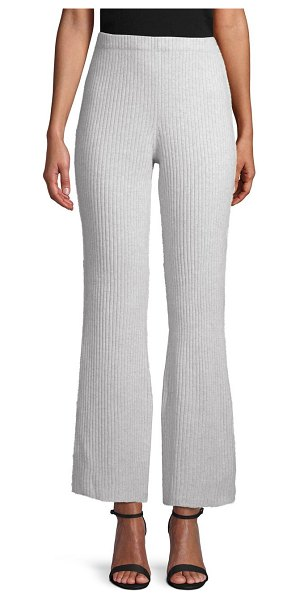 Cashmere Saks Fifth Avenue Ribbed Flare Cashmere Pants in grey - On-trend flared pants made from a luxurious cashmere....