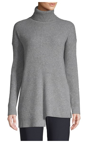Cashmere Saks Fifth Avenue Ribbed Turtleneck Cashmere Sweater in sleet - Comfortable cashmere sweater with ribbed design....