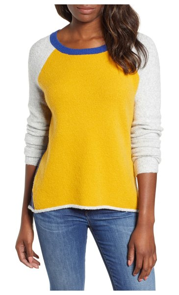 Caslon caslon colorblock sweater in yellow gold color block - Cozy gets sporty as this color-blocked sweater with...