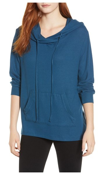 Caslon caslon cozy hoodie in blue ceramic - An easy shirttail hem and wonderfully soft and cozy knit...