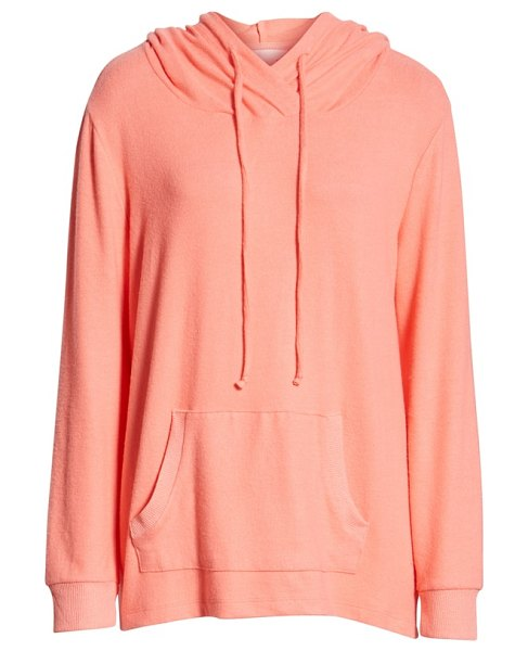 Caslon caslon cozy hoodie in coral - An easy shirttail hem and wonderfully soft and cozy knit...