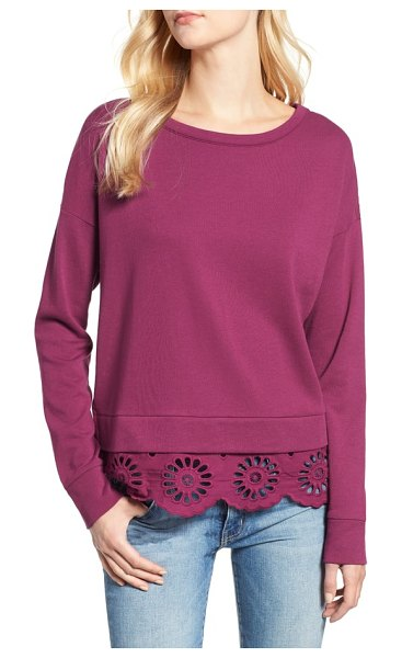 Caslon caslon eyelet trim sweatshirt in purple fuchsia - Scalloped eyelet lace fashions the back and frills the...