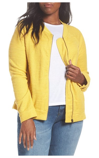 Caslon caslon knit bomber jacket in yellow tea