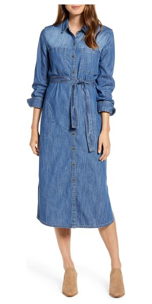 Caslon caslon long sleeve denim shirtdress in dark medium wash
