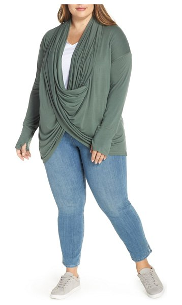 Caslon caslon off-duty long convertible cardigan in green duck - Get twice the fashionable options out of this...