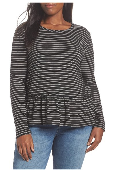 Caslon caslon peplum tee in black- beige stripe - A flouncy peplum hem adds easy sweetness to a soft,...