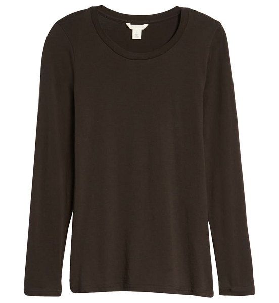 Caslon caslon pima cotton long sleeve t-shirt in black