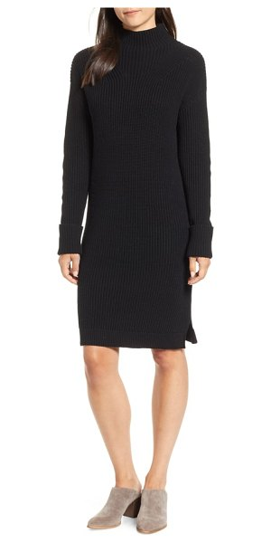 Caslon caslon ribbed sweater dress in black - A cozy classic for cool weather, this funnel-neck...