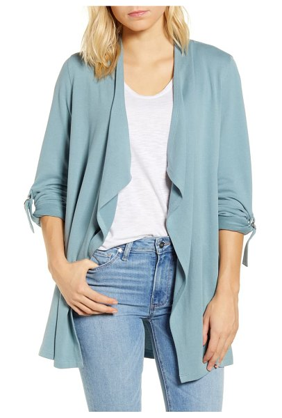 Caslon caslon roll tab knit jacket in blue smoke