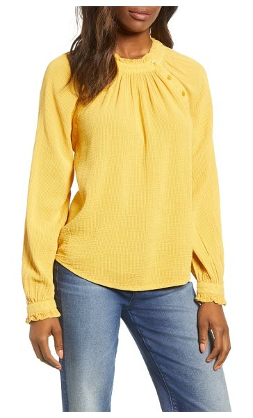 Caslon caslon textured cotton blouse in yellow gold